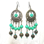 Amazonite & Brass Earrings